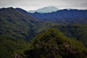木曽御嶽山を望む